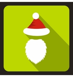 Red hat with pompom and long beard of santa claus vector