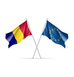 Romania and european union waving flags vector