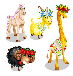 romantic cartoon animals with floral decoration vector image vector image