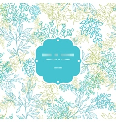 Scattered blue green branches frame seamless vector