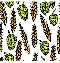 seamless with hop and malt beer pattern isolated vector image