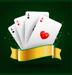 Set of four aces cards playing card suits vector