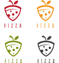 Slice of pizza with leaf design template vector
