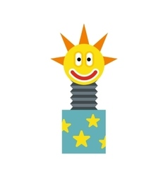 Toy jumping out of box icon flat style vector image