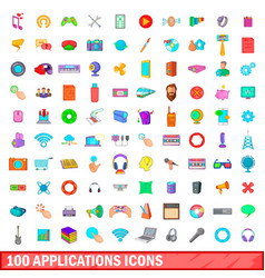 100 applications icons set cartoon style vector