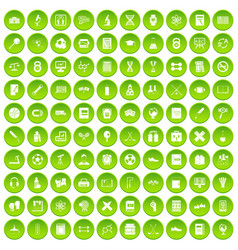 100 college icons set green vector