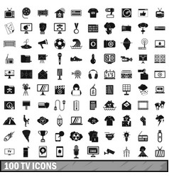 100 tv icons set simple style vector