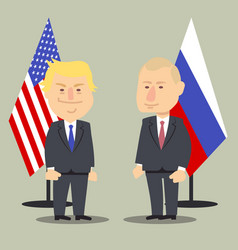 Donald trump and vladimir putin standing together vector
