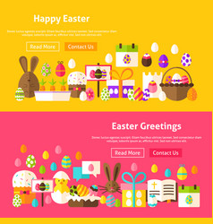 Easter holiday website banners vector