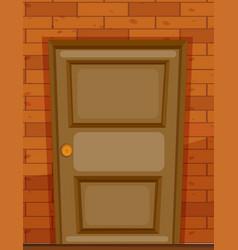 wooden door on brick wall vector image