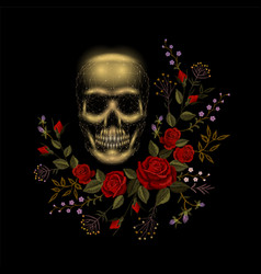 Vintage human skull bone flower red rose vector