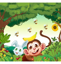 A forest with happy animals vector image