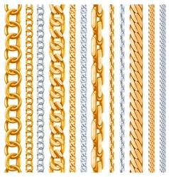 Gold and silver chains set vector image
