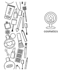 Banner vertical make up and cosmetics set vector