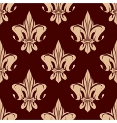 Brown seamless fleur-de-lis pattern vector