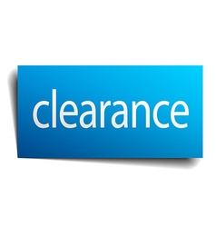 Clearance blue square isolated paper sign on white vector