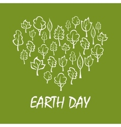 Heart with trees symbol for earth day design vector