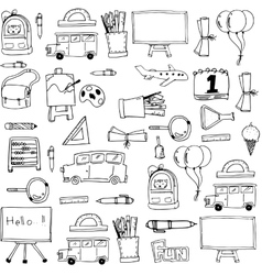 Hand draw background school doodles vector