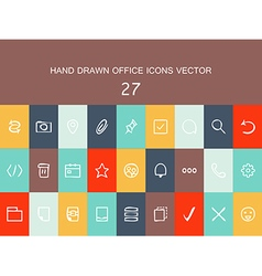 Abstract collection of flat line design icons vector image