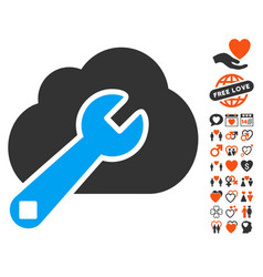 cloud options icon with love bonus vector image