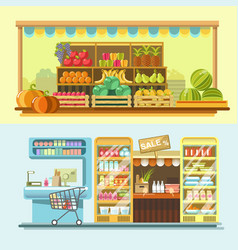 counters of shop or store and supermarket product vector image