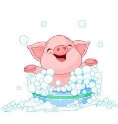 Cute piglet taking a bath vector