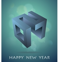 Greeting card for year 2017 with 3d emblem vector
