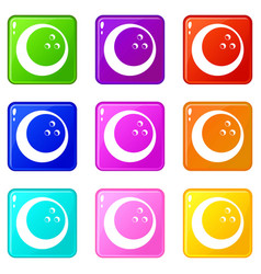 marbled bowling ball set 9 vector image