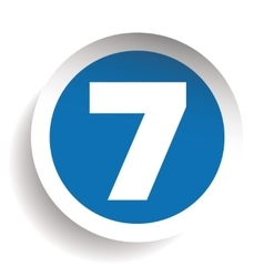 Number seven sticker blue vector
