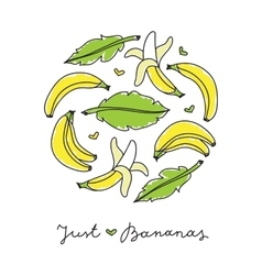 print of bananas vector image vector image