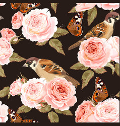 seamless roses and birds vector image