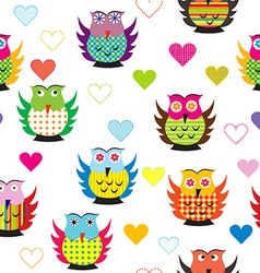 Seamless with carttoon owls vector image vector image