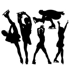 silhouettes of figure skaters vector image vector image