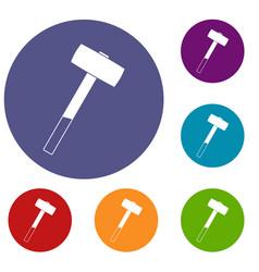 Sledgehammer icons set vector