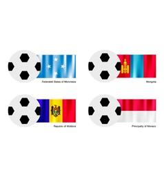 Soccer Ball of Micronesia Mongolia Moldova vector image