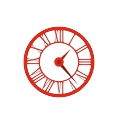 Elegant roman numeral clock icon flat style vector