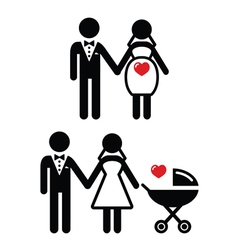 Pregnant bride icon bride with pram vector