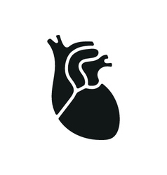 Black simple medical heart icon isolated vector
