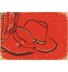 Cowboy boots and western hat sketch on red backgro vector
