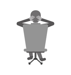 Man sitting on back chair relaxing monochromatic vector