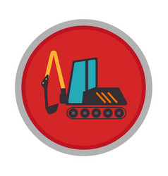 excavator vehicle isolated icon vector image