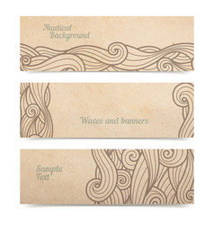 Waves ornate bannest set of three old parchment vector