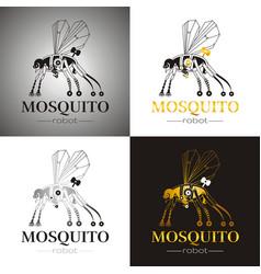 Cybernetic robot mosquito drone logo icon set vector