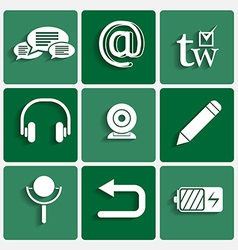 Phone interface theme icons set vector