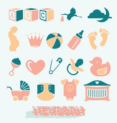 Newborn and baby icons and symbols vector
