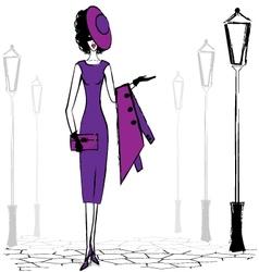 walking lady vector image