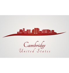 Cambridge skyline in red vector