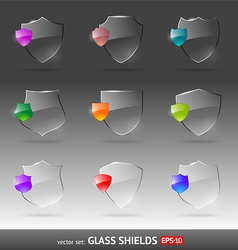 Set of glass heraldic shields vector