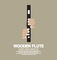 Wooden flute with hands vector