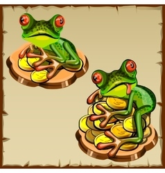 Two frog on a pile of coins fengshui talisman vector
